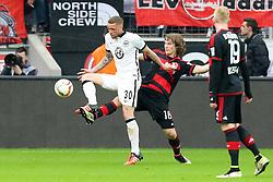 16.04.2016, BayArena, Leverkusen, GER, 1. FBL, Bayer 04 Leverkusen vs Eintracht Frankfurt, 30. Runde, im Bild Luc Castaignos (#30, Eintracht Frankfurt) mit Tin Jedvaj (#16, Bayer 04 Leverkusen) // during the German Bundesliga 30th round match between Bayer 04 Leverkusen and Eintracht Frankfurt at the BayArena in Leverkusen, Germany on 2016/04/16. EXPA Pictures © 2016, PhotoCredit: EXPA/ Eibner-Pressefoto/ Deutzmann<br /> <br /> *****ATTENTION - OUT of GER*****
