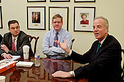 U.S. Sen. Jerry Moran (R-KS) was elected Chairman of the National Republican Senatorial Committee. Moran, and National Republican Senatorial Committee Executive Director Rob Collins, center, Political Director Ward Baker and Communications Director Brad Dayspring, left, sit down for an interview with Wall Street Journal reporters.