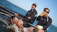 ENGLAND, Cowes, iShares Cup, 31st July 2009, Chris Draper, helmsman, (left), and Mark Bulkeley, Mainsheet Trimmer, Masirah.