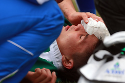 Injury at rugby match between National team of Slovenia (green) and Hungary (red) at European Championship of B group 3rd division, on September 13, 2008, in Stanezice, Ljubljana, Slovenia. (Photo by Vid Ponikvar / Sportal Images)