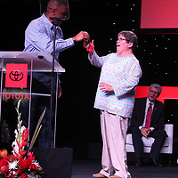 Sean Suggs, President of Toyota Motor Manufacturing, Mississippi, Inc., presents the keys to a new 12th generation 2020 Toyota Corolla to Blue Springs Mayor Rita Gentry during the Corolla's Off The Line Ceremony at the Blue Springs plant monday morning.
