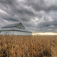 White barn with field and clouds in Central Illinois. Story at www.georgestrohlphotography.com