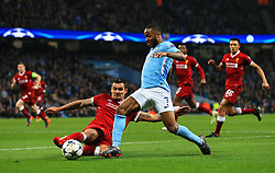 Dejan Lovren of Liverpool tackles Raheem Sterling of Manchester City - Mandatory by-line: Matt McNulty/JMP - 10/04/2018 - FOOTBALL - Etihad Stadium - Manchester, England - Manchester City v Liverpool - UEFA Champions League Quarter Final Second Leg