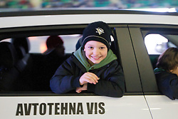 Kid in car during ice-hockey match between HDD Tilia Olimpija and EHC Liwest Black Wings Linz at second match in Semifinal  of EBEL league, on March 8, 2012 at Hala Tivoli, Ljubljana, Slovenia. (Photo By Matic Klansek Velej / Sportida)