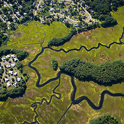 Subdivisions next to wetlands in Old Saybrook, Connecticut.  Aerial.