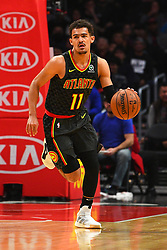 January 29, 2019 - Los Angeles, CA, U.S. - LOS ANGELES, CA - JANUARY 28: Atlanta Hawks Guard Trae Young (11) brings the ball up the court during a NBA game between the Atlanta Hawks and the Los Angeles Clippers on January 28, 2019 at STAPLES Center in Los Angeles, CA. (Photo by Brian Rothmuller/Icon Sportswire) (Credit Image: © Brian Rothmuller/Icon SMI via ZUMA Press)