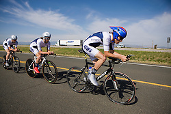 The Colorado School of Mines team of Christoph Hurley, Zak Grabowski, Aaron Heun, and Shaun Higgins competes in the men's division 2 race.  The 2008 USA Cycling Collegiate National Championships Team Time Trial event was held near Wellington, CO on May 9, 2008.  Teams of 3 or 4 riders raced over a 20km out and back course that ran along a service road to Interstate 25.