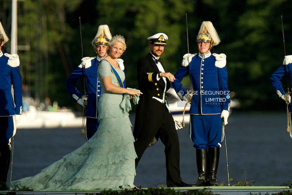 Crown Prince Haakon, and crown Princess Mette-Marit of Norway attend the evening banquet after the wedding of Princess Madeleine of Sweden and Christopher O'Neill hosted by King Carl XIV Gustaf and Queen Silvia at Drottningholm Palace on June 8, 2013 in Stockholm, Sweden.
