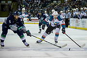 KELOWNA, CANADA - APRIL 26:  Jarret Tyszka #5 of the Seattle Thunderbirds, Tomas Soustal #15 of the Kelowna Rockets at the Kelowna Rockets game on April 26, 2017 at Prospera Place in Kelowna, British Columbia, Canada.  (Photo By Cindy Rogers/Nyasa Photography,  *** Local Caption ***