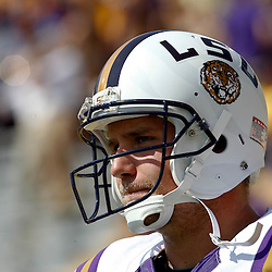 October 22, 2011; Baton Rouge, LA, USA;  LSU Tigers quarterback Jarrett Lee (12) prior to kickoff of a game against the Auburn Tigers at Tiger Stadium.  Mandatory Credit: Derick E. Hingle-US PRESSWIRE / © Derick E. Hingle 2011