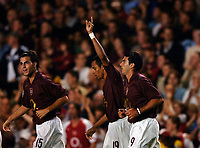 Photo: Henry Browne.<br /> Arsenal v FC Thun. UEFA Champions League.<br /> 14/09/2005.<br /> Gilberto celebrates after scoring the opening goal for Arsenal.