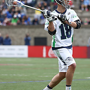 Ben Hunt #18 of the Chesapeake Bayhawks looks to pass the ball during the game at Harvard Stadium on April 27, 2014 in Boston, Massachusetts. (Photo by Elan Kawesch)