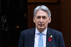 © Licensed to London News Pictures. 31/10/2018. London, UK. Chancellor of the Exchequer Philip Hammond leaves 11 Downing Street to attend Prime Ministers Questions in Parliament. On Monday this week the Chancellor announced the Autumn budget. Photo credit : Tom Nicholson/LNP