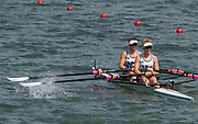 "Rio de Janeiro. BRAZIL.   GBR LW2X. Repechage. Bow. Charlotte TAYLOR and Kat COPELAND. 2016 Olympic Rowing Regatta. Lagoa Stadium,<br /> Copacabana,  ""Olympic Summer Games""<br /> Rodrigo de Freitas Lagoon, Lagoa.   Tuesday  09/08/2016 <br /> <br /> [Mandatory Credit; Peter SPURRIER/Intersport Images]"