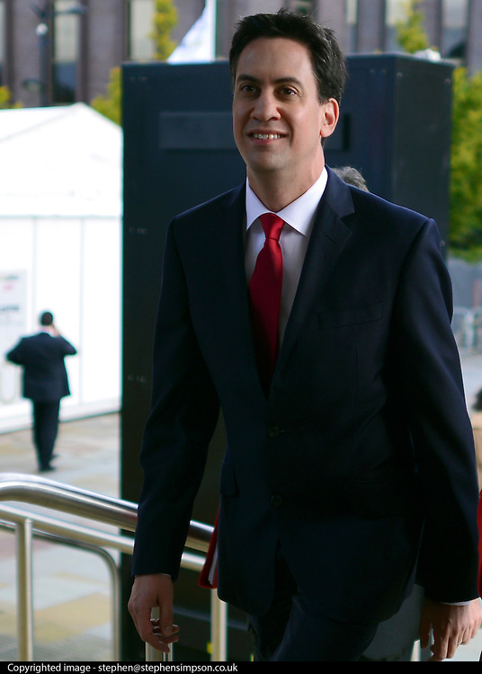 © Licensed to London News Pictures. 01/10/2012. Manchester, UK Leader of the Labour Party Ed Miliband arrives at the second day of the Labour Party Conference. Labour Party Conference Day 2 at Manchester Central. Photo credit : Stephen Simpson/LNP