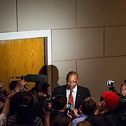 """Mayor Pro Tem Michael Barnes addresses the media after the 10-1 city council vote to appoint NC State Senator Daniel Clodfelter. District 3 Councilwoman LaWana Mayfield was the only """"no"""" vote."""