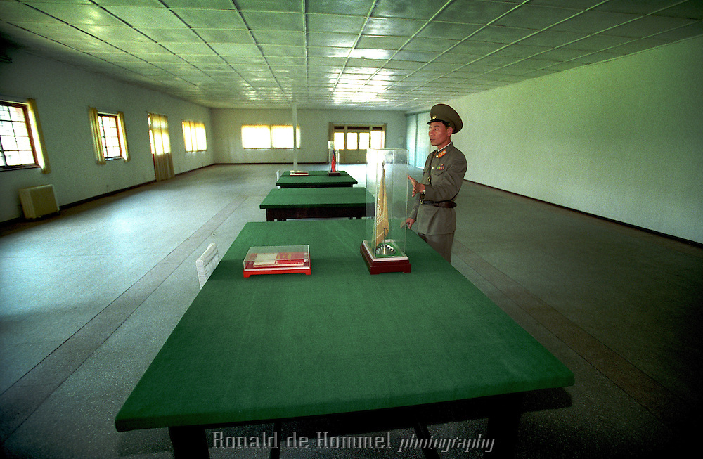 Panmunjom,North Korea july 2001. the famous closed border between North and South Korea. A North Korean Guard guards the room where the truce between North and South was signed.
