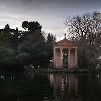 Asclepius Temple on a small island in a pond in Rome's Villa Borghese Park.
