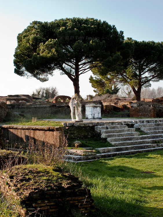 Ostia Antica Republican era Temple of Heracles in late afternoon.