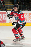 KELOWNA, CANADA - NOVEMBER 9:  Ryan Olsen #27 of the Kelowna Rockets skates on the ice against the Red Deer Rebels at the Kelowna Rockets on November 9, 2012 at Prospera Place in Kelowna, British Columbia, Canada (Photo by Marissa Baecker/Shoot the Breeze) *** Local Caption ***