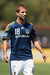 August 21, 2010; Santa Clara, CA, USA;  Los Angeles Galaxy forward Mike Magee (18) warms up before the game against the San Jose Earthquakes at Buck Shaw Stadium. San Jose defeated Los Angeles 1-0.