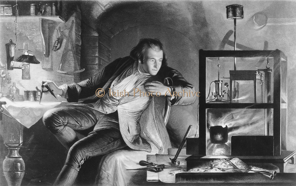 James Watt (1736-1819) Scottish inventor and mechanical engineer. Watt repairing a Newcomen syeam engine. After the picture by Marcus Stone.