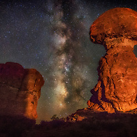 Milky Way over Balanced Rock, Arches National Park, Utah.