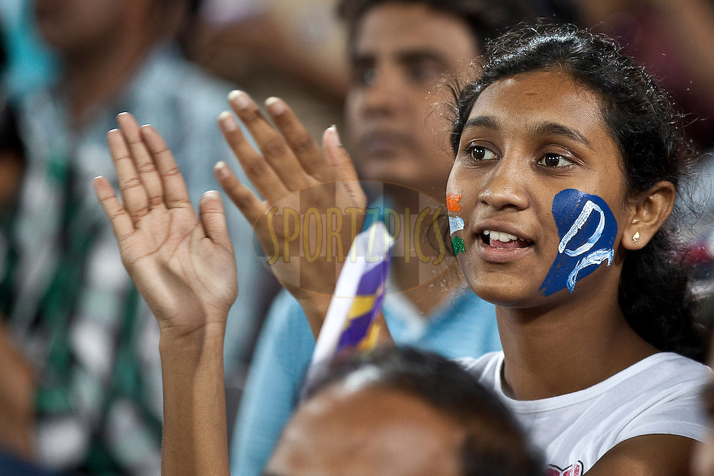 Fans of Decan Chargers painting DC on her face during match 11 of the Indian Premier League ( IPL ) between the Deccan Chargers and the Royal Challengers Bangalore held at the Rajiv Gandhi International Cricket Stadium in Hyderabad on the 14th April 2011..Photo by Saikat Das/BCCI/SPORTZPICS