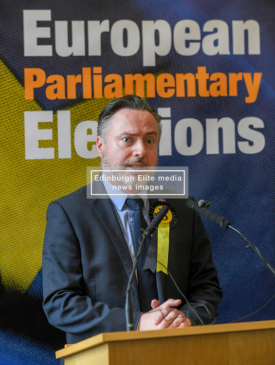Pictured: New SNP MEP Alyn Smith speaks after the declaration.<br /> <br /> Scotland's results in the European elections were announced at the City Chambers in Edinburgh.<br /> <br /> © Dave Johnston / EEm