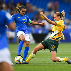 Marta of Brazil and Samantha Peut Kerr of Australia during the Women's World Cup match between Australia and Brazil at Stade de la Mosson on June 13, 2019 in Montpellier, France. (Photo by Alexandre Dimou/Icon Sport)