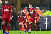 Goal Liverpool forward Roberto Firmino (9) scores a goal and celebrates 1-2 during the Premier League match between Wolverhampton Wanderers and Liverpool at Molineux, Wolverhampton, England on 23 January 2020.