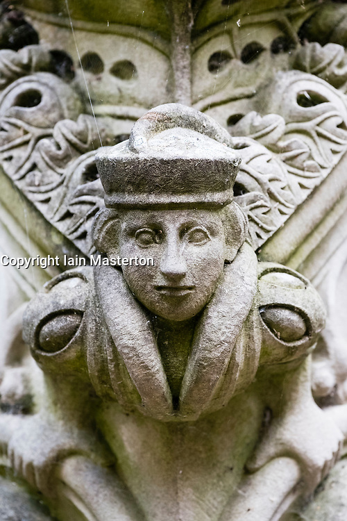 Detail of statue on fountain at Linlithgow Palace in Scotland, United Kingdom