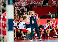 Lino Cervar, head coach  of Croatia during handball match between National teams of Croatia and France on Day 7 in Main Round of Men's EHF EURO 2018, on January 24, 2018 in Arena Zagreb, Zagreb, Croatia.  Photo by Vid Ponikvar / Sportida