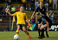 International Women's Friendly Matchs 2019 / <br /> Cup of Nations Tournament 2019 - <br /> Australia v New Zealand 2-0 ( Leichhardt Oval Stadium - Sidney,Australia ) - <br /> Caitlin Foord of Australia (L) ,Challenges with Rebekah Ashley Stott (6) and Betsy Doon Hassett of New Zealand (12)