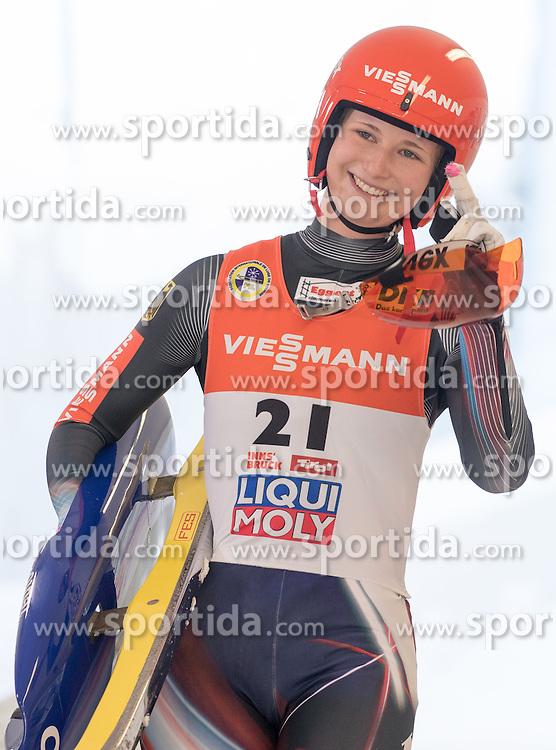 28.01.2017, Olympia Eisbahn, Igls, AUT, FIL Rennrodel WM 2017, Igls, Damen Einsitzer, 2. Lauf, im Bild Julia Taubitz (GER) // Julia Taubitz of Germany reacts after her 2nd run of women's single seater competition of 2017 Luge World Championship at the Olympia Eisbahn in Igls, Austria on 2017/01/28. EXPA Pictures © 2017, PhotoCredit: EXPA/ Johann Groder