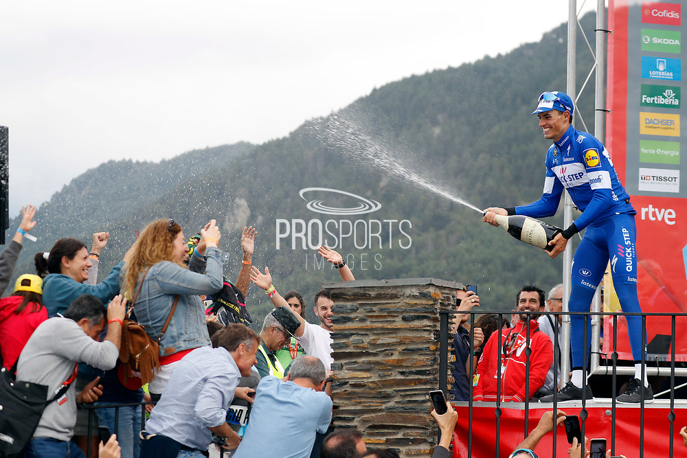 Enric Mas (ESP - QuickStep - Floors) podium champagne during the 73th Edition of the 2018 Tour of Spain, Vuelta Espana 2018, 20th stage Andorra Escaldes Engordany - Coll de la Gallina 97.3 km on September 15, 2018 in Spain - Photo Luca Bettini / BettiniPhoto / ProSportsImages / DPPI
