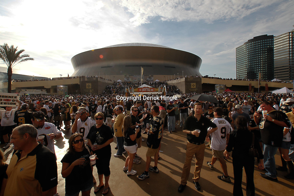 September 9, 2010; New Orleans, LA, USA;  New Orleans Saints fans outside at Champions Square prior to the NFL Kickoff season opener between the Minnesota Vikings and the New Orleans Saints at the Louisiana Superdome. Mandatory Credit: Derick E. Hingle