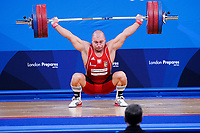 Bartlomiej BONK (POL) in the snatch, The London Prepares Weightlifting Olympic Test Event, ExCel Arena, London, England December