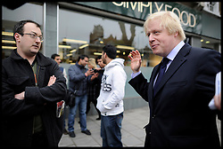 London Mayor Boris Johnson in South London during the Mayoral Campaign, London, UK, May 2, 2012. Photo By Andrew Parsons / i-Images.
