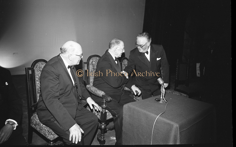 Opening of the new Abbey Theatre, designed by Michael Scott. Earnan de Blaghd, President de Valera and Dr. Seamus Wilmot..18.07.1966