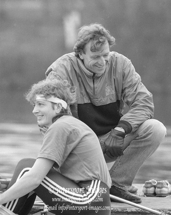 Staines, GREAT BRITAIN,   <br /> Sitting Sue SMITH and Hugh MATHERSON.<br /> British Rowing Women's Heavy Weight Assessment. Thorpe Park. Sunday 21.02.1988,<br /> <br /> [Mandatory Credit, Peter Spurrier / Intersport-images] 1987 GBR Women's H/Weight Assesment Thorpe Park, Surrey.UK