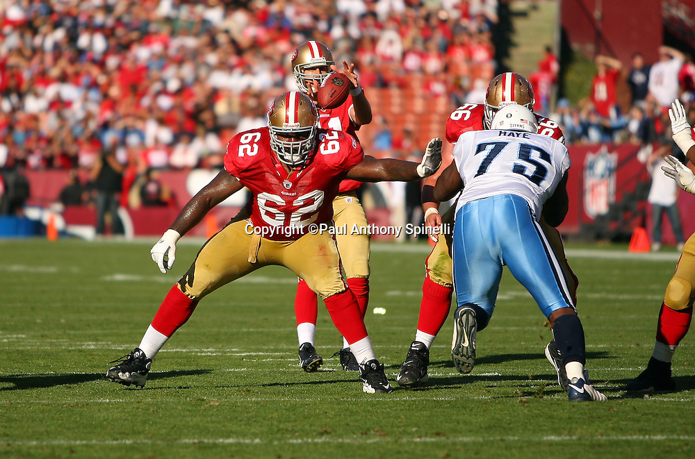 San Francisco 49ers guard Chico Rachal (62) pass blocks during the NFL football game against the Tennessee Titans, November 8, 2009 in San Francisco, California. The Titans won the game 34-27. (©Paul Anthony Spinelli)