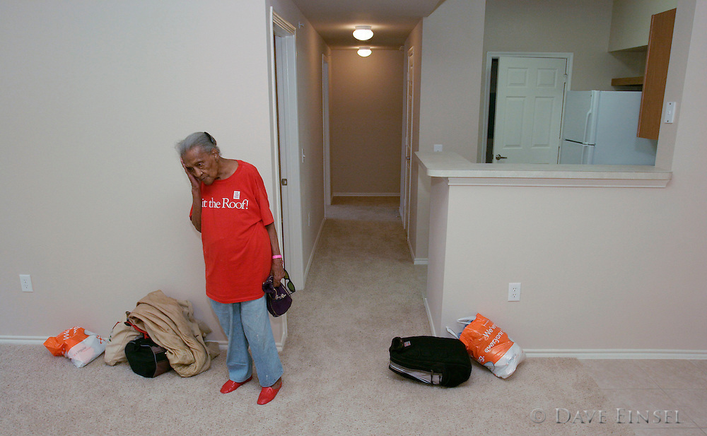 HOUSTON - SEPTEMBER 5: Hilda Crain, of New Orleans, stands in her new apartment at the Primrose Casa Bella Senior Apartments in Houston, Monday, Sept. 5, 2005. Crain moved from the Reliant Astrodome to the new housing. .<br />
