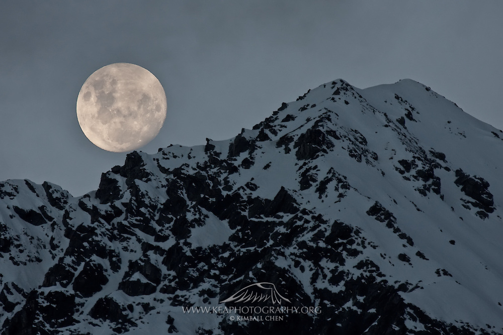 Full moon at Mount Cook, New Zealand