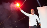 The 2014 Route Du Rhum finish. Guadeloupe. Pictures of Loick Peyron onboard his &quot;Maxi Trimaran&quot; Banque Populaire. Winning the Route du Rhum this evening in a new record time of 7 days 15hrs and 8 minutes <br /> Credit: Mark Lloyd/Lloyd Images