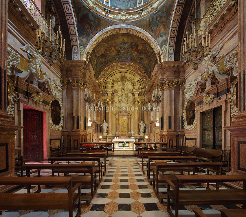 The Capella de la Santa Cinta, built 1672-1725 in Baroque style, in the Cathedral of St Mary, designed by Benito Dalguayre in Catalan Gothic style and begun 1347 on the site of a Romanesque cathedral, consecrated 1447 and completed in 1757, Tortosa, Catalonia, Spain. The cathedral has 3 naves with chapels between the buttresses and an ambulatory with radial chapels. Picture by Manuel Cohen