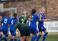 Gemma Collier (right) is congratulated after scoring  Farmington's third goal - Forfar Farmington v Edinburgh University Hutchison Vale in SWPL2 at Station Park Forfar - picture by David Young<br /> <br />  - &copy; David Young - www.davidyoungphoto.co.uk - email: davidyoungphoto@gmail.com