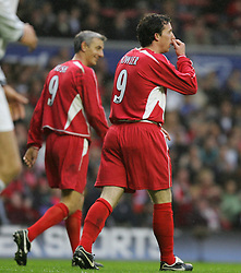 LIVERPOOL, ENGLAND - SUNDAY MARCH 27th 2005: Two Liverpool Legends' number nines Ian Rush (L) and Robbie Fowler (R) during the Tsunami Soccer Aid match at Anfield. (Pic by David Rawcliffe/Propaganda)
