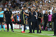 Cristiano Ronaldo of Juventus FC is conforted by Head coach Marcelino Garcia Toral of Valencia CF while he walks from the ground after he was given a red card during the UEFA Champions League, Group H football match between Valencia CF and Juventus FC on September 19, 2018 at Mestalla stadium in Valencia, Spain - Photo Manuel Blondeau / AOP Press / ProSportsImages / DPPI