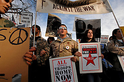 Iraq Veterans Against the War along with other protesters who included celebrities like Jane Fonda, Susan Saranda, Tim Robbins and Sean Penn, as well as politicians rallied in Washington DC, in the United States, Saturday January 27, 2007 to press their cause with a Congress about to make a decision whether to increase troops in the ongoing war in Iraq. United for Peace and Justice, a coalition group sponsoring the protest, had hoped 100,000 would come but it was estimated to be smaller than 100,000.(Ami Vitale)